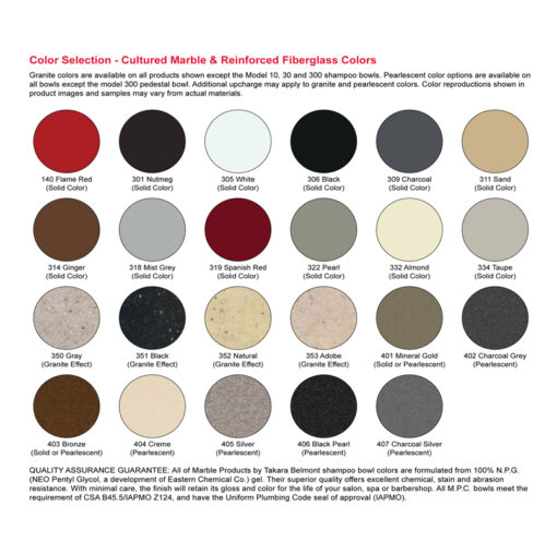 M10 Fiber Glass Shampoo Bowl Color Chart